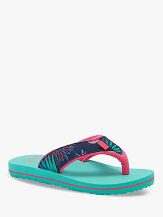 Animal Children's Palm Print Flip Flops, Blue/Pink