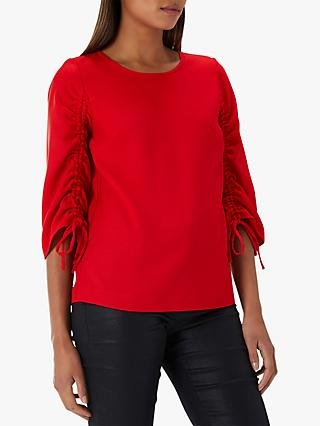 Coast Reese Gathered Sleeve Top, Red