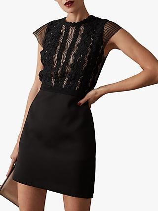 Reiss Veriana Lace Bodice Dress, Black