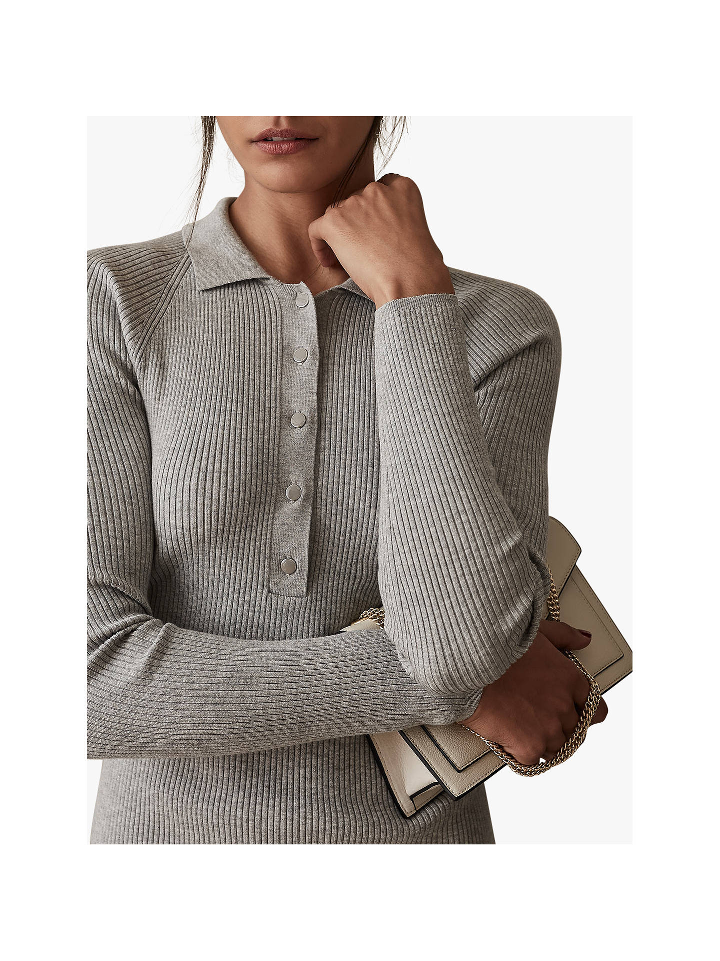 Buy Reiss Louise Button Collar Knitted Dress, Grey Marl, XS Online at johnlewis.com