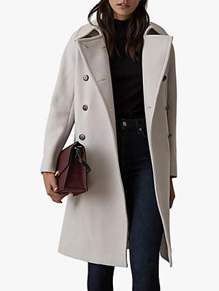 Reiss Eilish Double Breasted Coat, Neutral