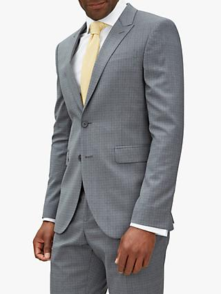 Jaeger Fine Overcheck Slim Fit Suit Jacket, Grey
