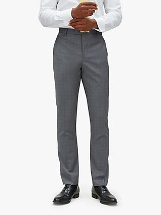 Jaeger Fine Overcheck Slim Fit Suit Trousers, Grey