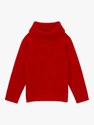 Jigsaw Girls' Ribbed Jumper, Nordic Orange