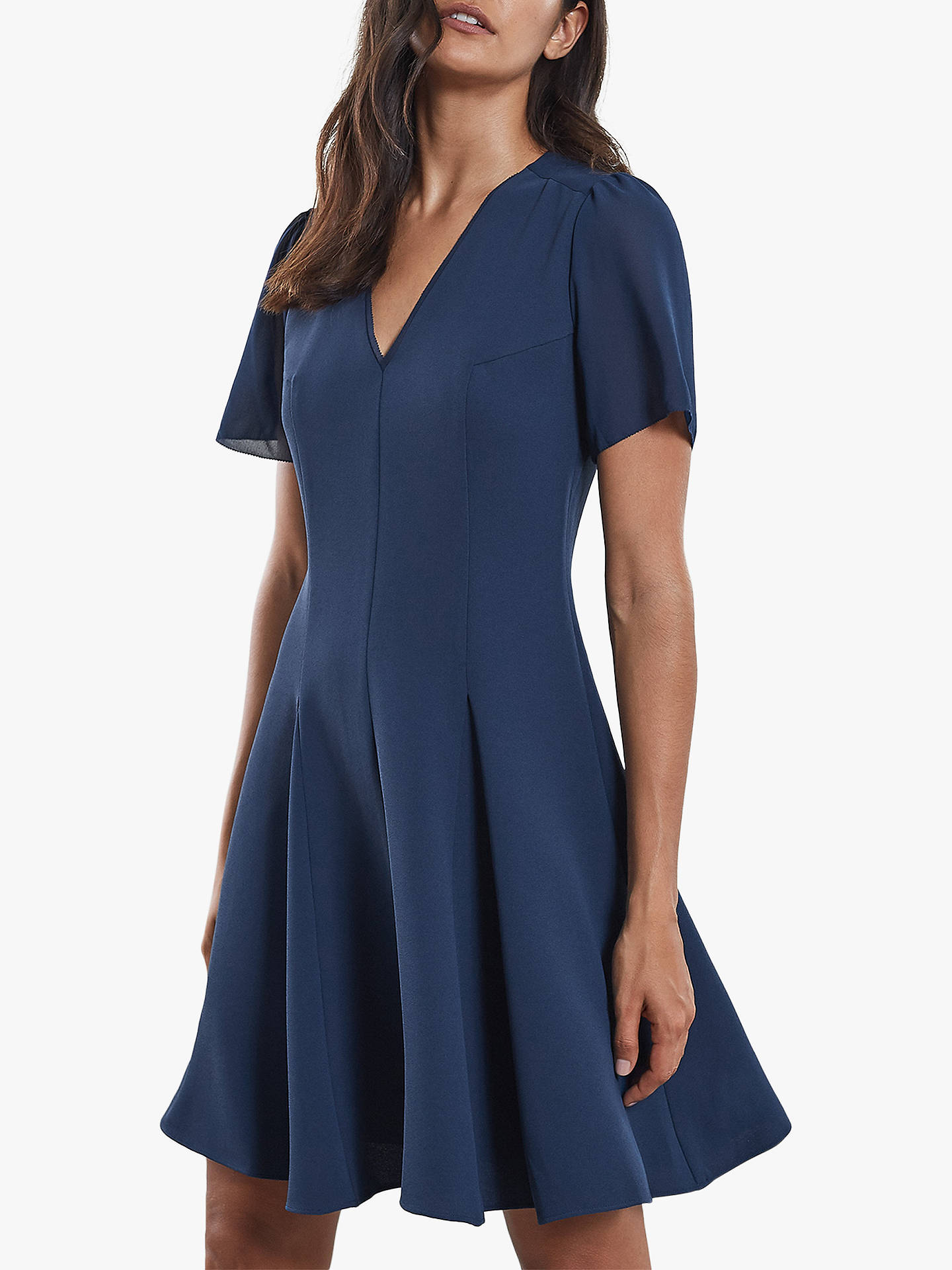 BuyReiss Seamed Chiffon Sleeve Flare Dress, Teal, 6 Online at johnlewis.com