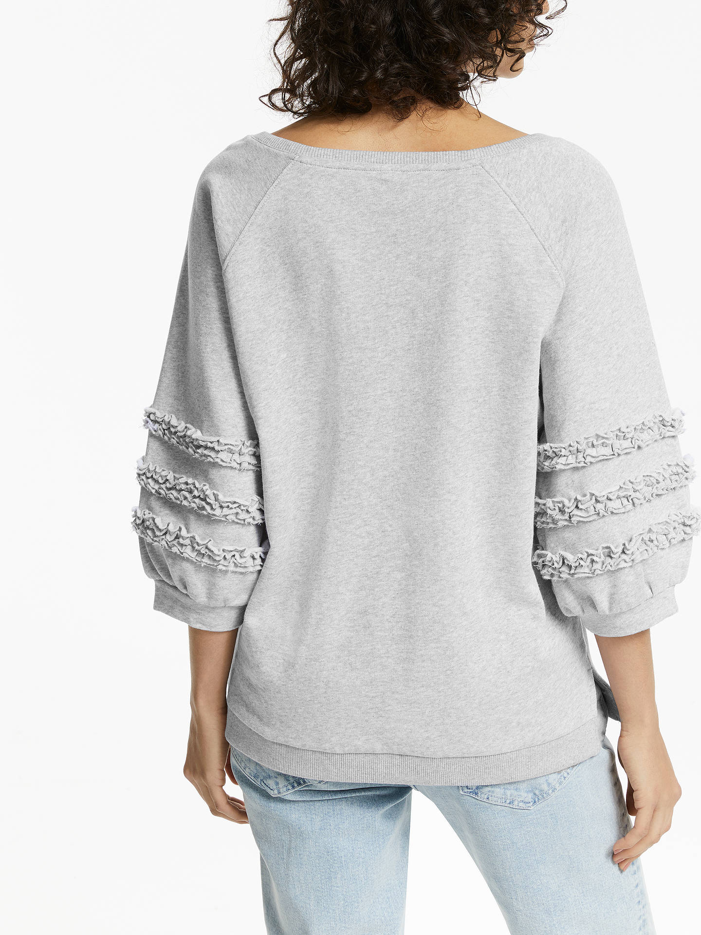 Buy AND/OR Lana Frill Sweat Top, Silver Grey, 8 Online at johnlewis.com