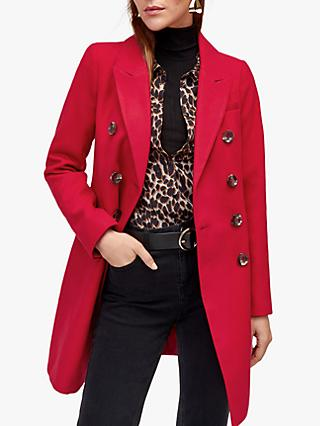 Warehouse Double Breasted Coat, Bright Red