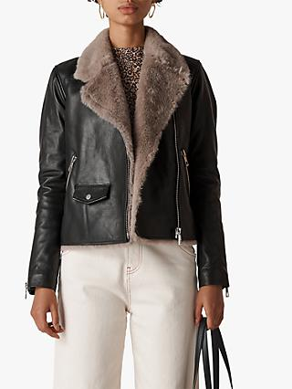 Whistles Agnes Faux Fur Leather Biker Jacket, Black