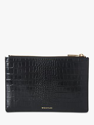 Whistles Shiny Croc Leather Small Clutch Bag, Black