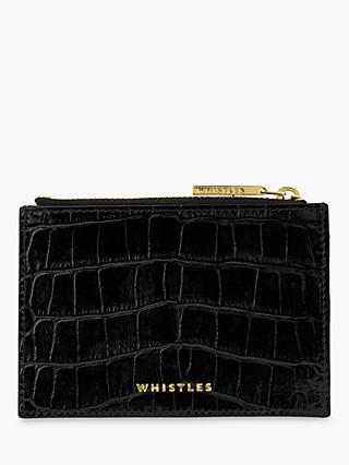 Whistles Shiny Croc Coin Purse, Black