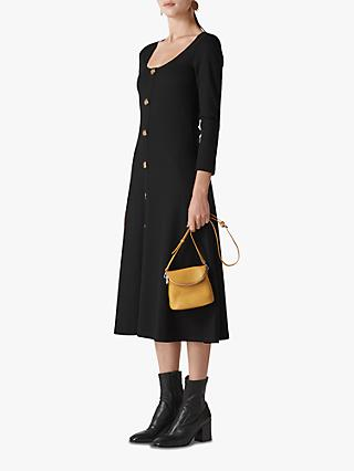 Whistles Button Detail Jersey Dress, Black