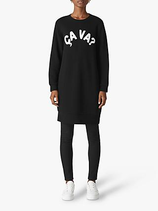 Whistles Ca Va Sweat Dress, Black