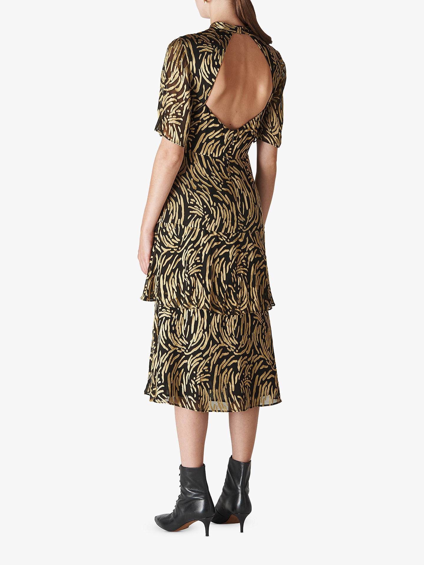 84a757a8a794 ... Buy Whistles Ivanna Reed Devore Frill Dress, Gold/Multi, 14 Online at  johnlewis ...
