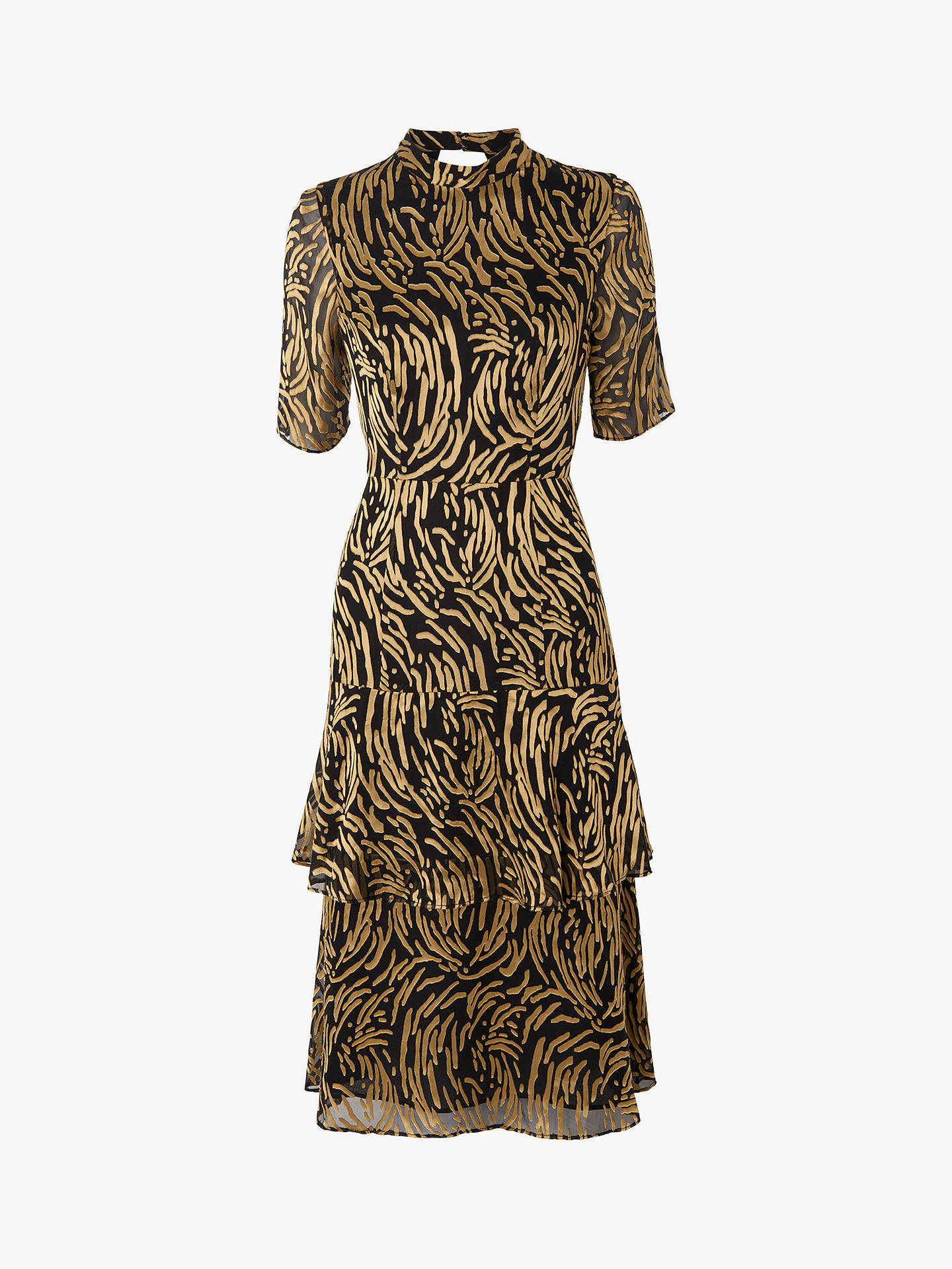 992da4fa0224 ... Buy Whistles Ivanna Reed Devore Frill Dress, Gold/Multi, 14 Online at  johnlewis