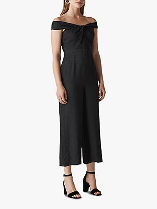 Whistles Animal Jacquard Bardot Jumpsuit, Black