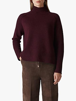 Whistles Sparkle Funnel Neck Jumper, Burgundy