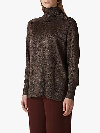 Whistles Sparkle Relaxed Polo Jumper, Silver