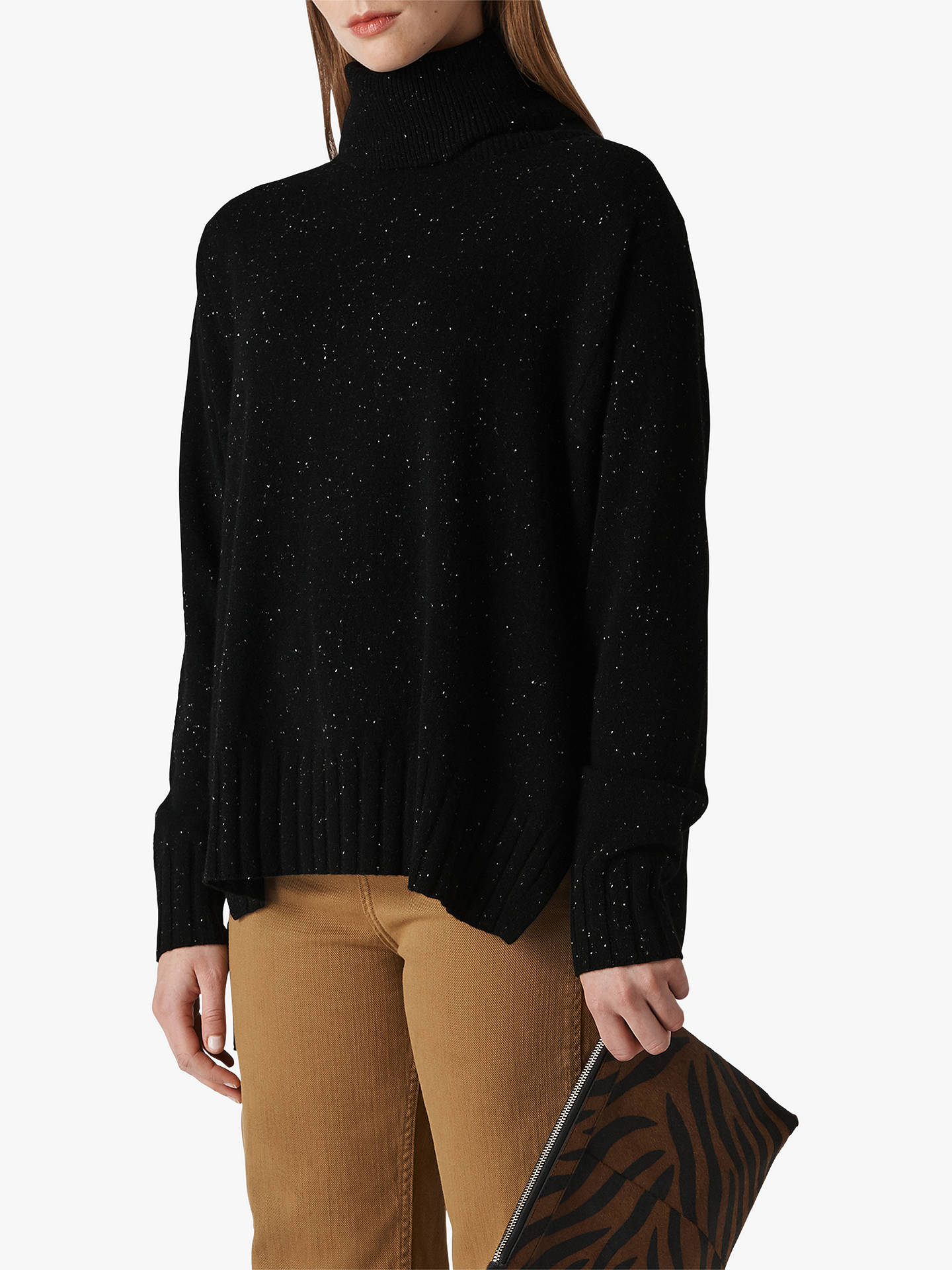 17cabe2e826 Whistles Cashmere Roll Neck Jumper, Black/Multi at John Lewis & Partners