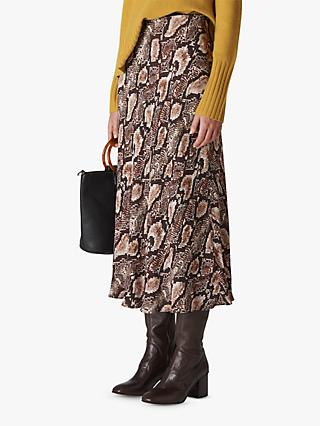 Whistles Snake Print Bias Cut Skirt, Natural