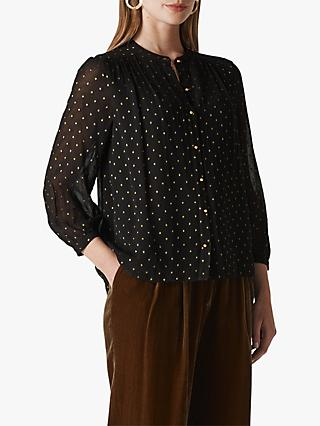 Whistles Gianni Polka Dot Sheer Blouse, Gold/Multi