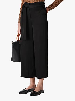 Whistles Wide Leg Tie Waist Trousers, Black