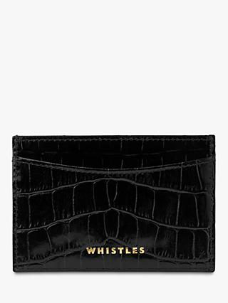Whistles Shiny Embossed Croc Card Holder, Black