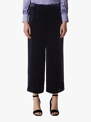 Whistles Velvet Cropped Wide Leg Trousers, Purple