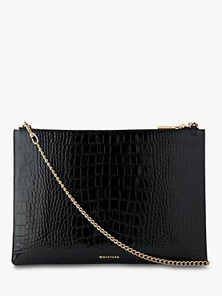 Whistles Rivington Shiny Leather Clutch Bag, Black