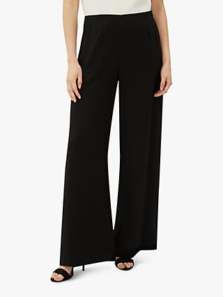 Jaeger Palazzo Wide Leg Trousers, Black