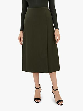 Jaeger Pleated Wrap Skirt, Khaki