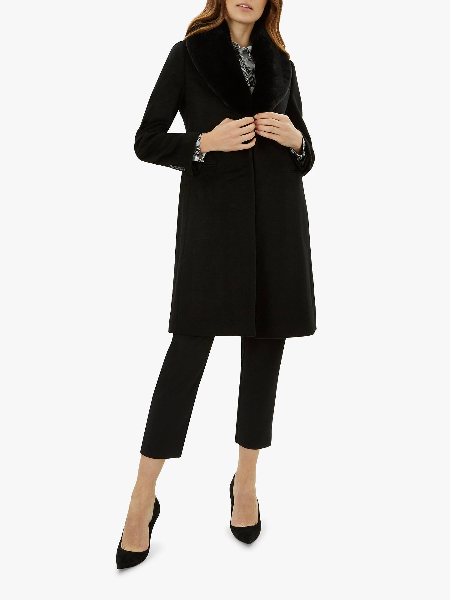 BuyJaeger Single Breasted Faux Fur Collar Wool Coat, Black, 10 Online at johnlewis.com