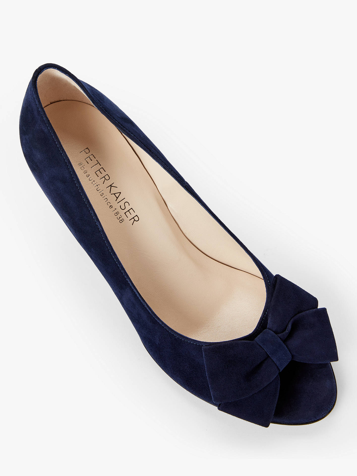 save off 961b4 ef7dc Peter Kaiser Alenja Bow Cone Heel Court Shoes, Notte Suede
