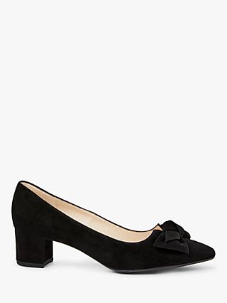 Peter Kaiser Blia Bow Block Heel Suede Court Shoes