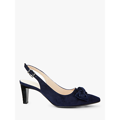 Peter Kaiser Malijana Bow Cone Heel Slingback Court Shoes, Notte Suede