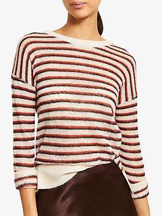 Mint Velvet Stripe Jumper, Rust/Ivory