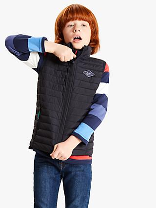 Little Joule Boys Quilted Gilet, Navy