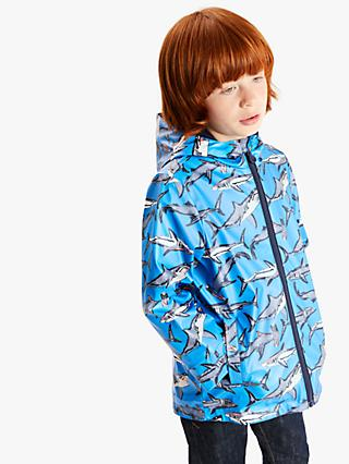 Little Joule Boys' Shark Print Raincoat, Blue