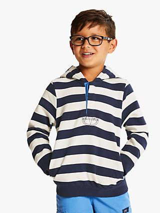 Little Joule Boys' Stripe Hooded Sweatshirt, Blue/White