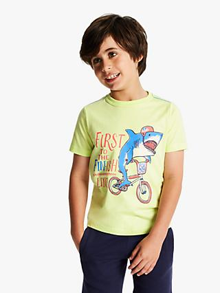 Little Joule Boys' Screen Print T-Shirt, Lime