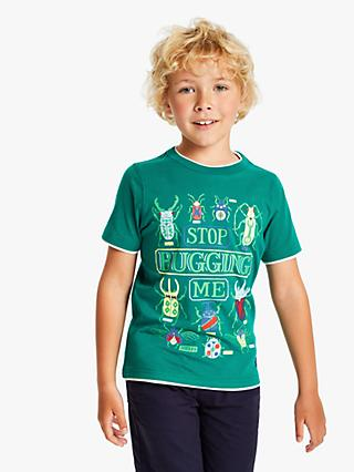 Little Joule Boys' Bug Print T-Shirt, Green