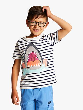 Little Joule Boys' Shark Applique T-Shirt, Blue