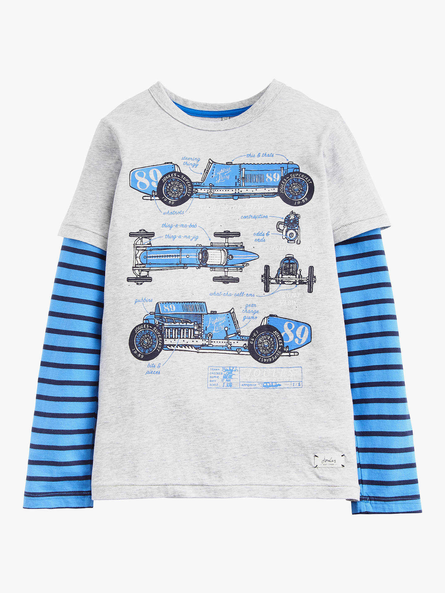 d430a6d3 Little Joule Boys' Mock Layer T-Shirt, Blue at John Lewis & Partners