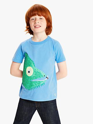 Little Joule Boys' Chameleon Applique T-Shirt, Blue