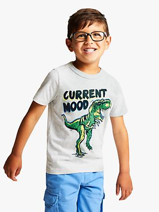 Little Joule Boys' Screen Print Dinosaur T-Shirt, Grey