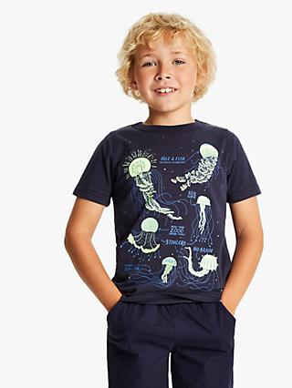 Little Joule Boys' Glow In The Dark Jellyfish T-Shirt, Navy