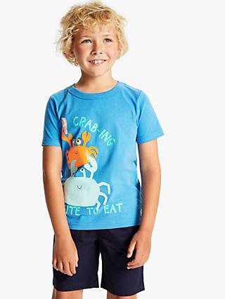Little Joule Boys' Archie Crab Applique T-Shirt, Blue