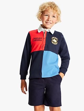 Little Joule Boys' Harlequin Rugby Top, Blue
