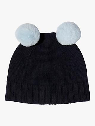 Jigsaw Children's Faux Fur Pom Pom Hat, Navy