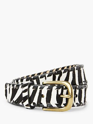 John Lewis & Partners Zara Zebra Print Leather Jeans Belt, Multi