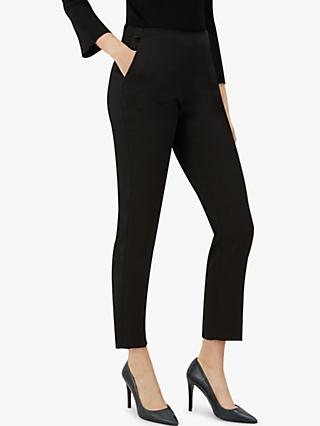 Jaeger Satin Cigarette Trousers, Black